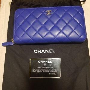 Chanel Blue Lambskin Large Zip Around Wallet